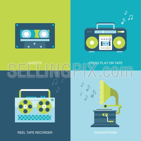 Flat design vector illustration concept retro vintage set of electronics and entertainment. Casette, press play on tape, reel tape recorder, gramophone. Big flat processes collection.