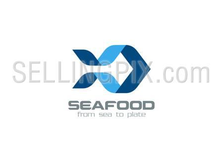 Origami Fish Logo design vector template. Ribbon Silhouette seafood Logotype concept icon.