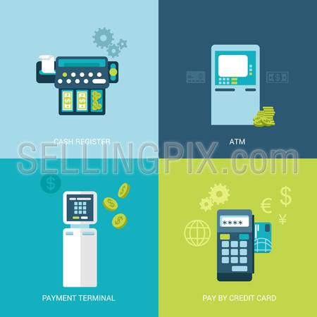 Flat design vector illustration concept bank finance electronic devices. Cash register, ATM, payment terminal, mobile payout. Big flat objects icons collection.