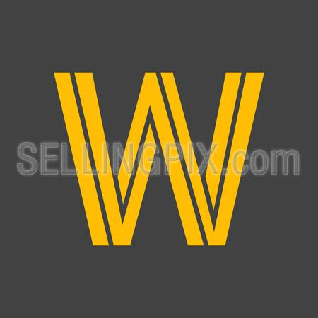 Letter W vector alphabet impossible shape. ABC concept type as logo. Typography design