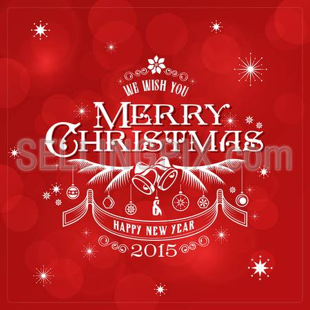 Merry Christmas Typography Lettering Retro Vintage Label Design Greeting Card on Red Holiday background. Happy New Year Happy Holidays Template. 2015, Bell, snowflakes, christmas balls