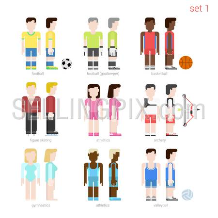 Flat style sportsmen people vector icon set. Female figure skater, archer, basketball, volleyball, athletics. Flat sportsman peolpe collection.