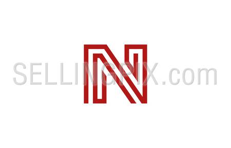 Letter N Logo vector alphabet design element template. ABC concept type as logotype. Typography icon line art