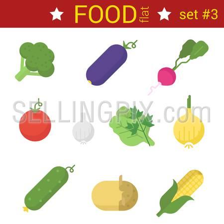 Flat design vegetables vector icon set. Raddish, corn, potato, garlic, carrot, tomato, cucumber, eggplant, cabbage, bell pepper. Food collection.