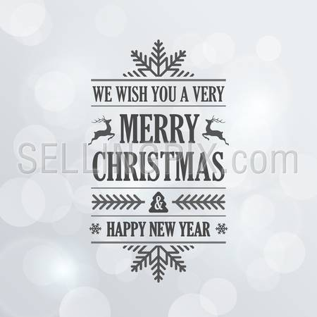 Merry Christmas Vintage Retro Typography Lettering Design Greeting Card on Bokeh background. 
