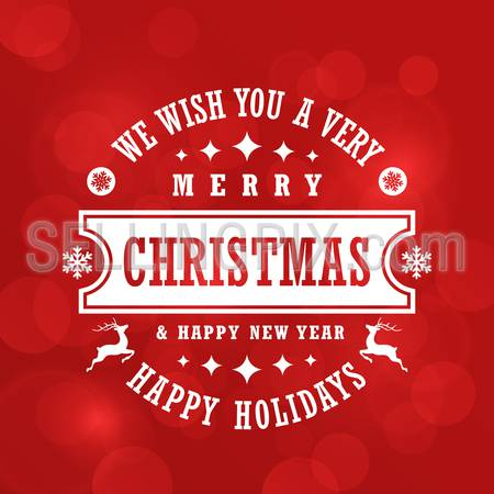 Merry Christmas Typography Lettering Vintage Label Design Greeting Card on Red Holiday background. 
