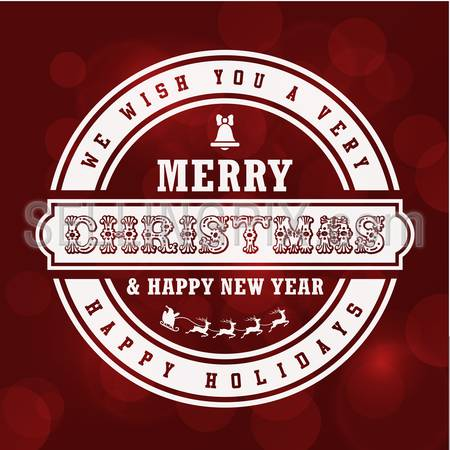 Merry Christmas Vintage Lettering Design Greeting Card on Red Holiday background. 