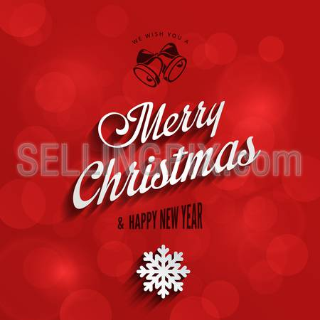 Merry Christmas & Happy New Year Typography Lettering Vintage Design Greeting Card on Red Holiday background. 