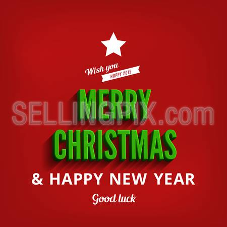 Merry Christmas & Happy New Year greeting card vector design template.