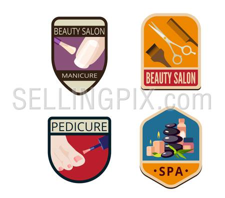 Beauty Salon SPA Vintage Labels vector icon design collection. Shield banner sign. Manicure, Pedicure, Haircut, SPA flat icons such as Logos.