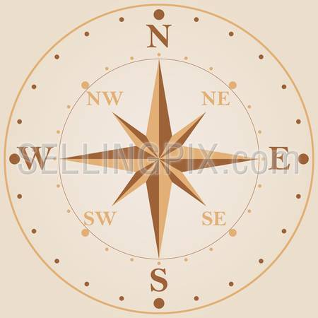 Wind rose compass vintage classic style vector design template. Navigation travel adventure concept.