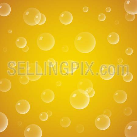 Yellow Beer background vector with Bubbles close up.