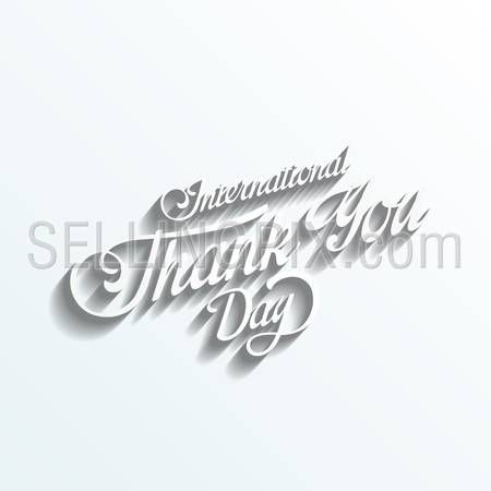 Thank you day Vintage Retro Typography Lettering Design Calligraphy Greeting Card on white paper background. 