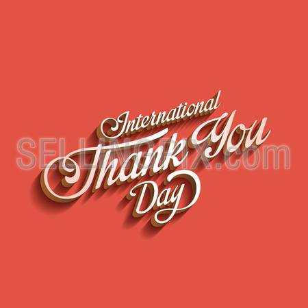 Thank you day Vintage Retro Typography Lettering Design Calligraphy Greeting Card on pink background. 