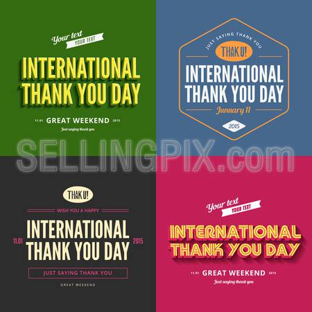 Thank you day text Vintage Retro Typography Lettering Design Calligraphy Greeting Card collection.  Vector illustration long shadow style