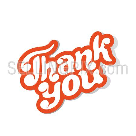 Thank you Hand drawn text calligraphic vintage retro style sticker badge