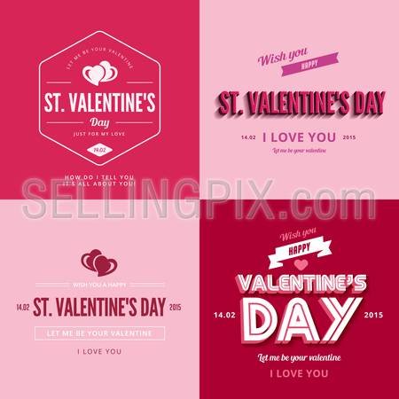 St. Valentine day text Vintage Retro Typography Lettering Design Greeting Card collection. 