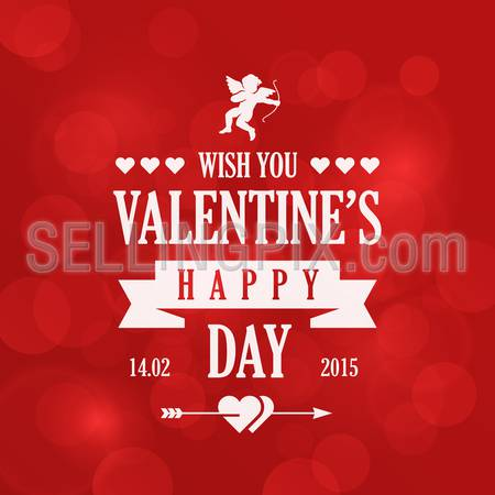 St. Valentine Day Vintage Retro Typography Lettering Design Greeting Card on Bokeh background. 