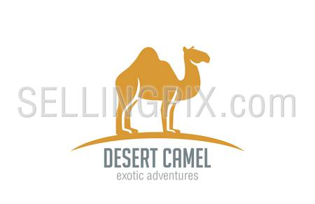 Camel Logo vector design template silhouette. Desert Travel logotype concept.