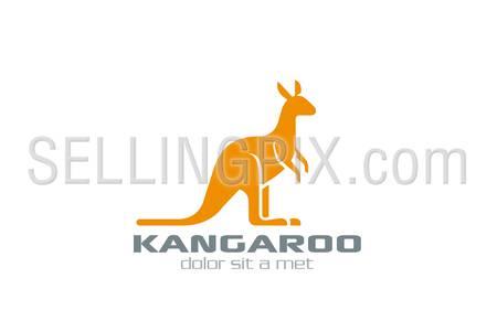 Kangaroo Logo vector design silhouette template. Logotype for bags, sport etc.