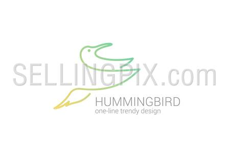 Hummingbird flying line art vector logo design template.