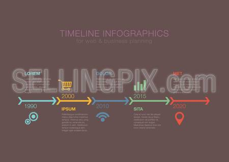 Business Timeline Infographics arrows vector design template for financial reports, website, infographic statistics. Editable.