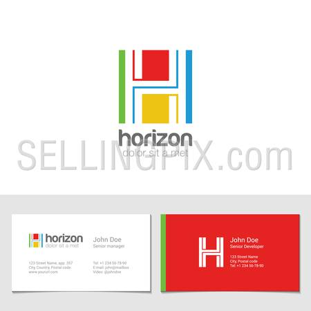 Corporate Logo H Letter company vector design template. Logotype with identity business visit card.