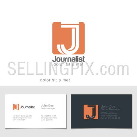 Corporate Logo J Letter company vector design template. Logotype with identity business visit card.