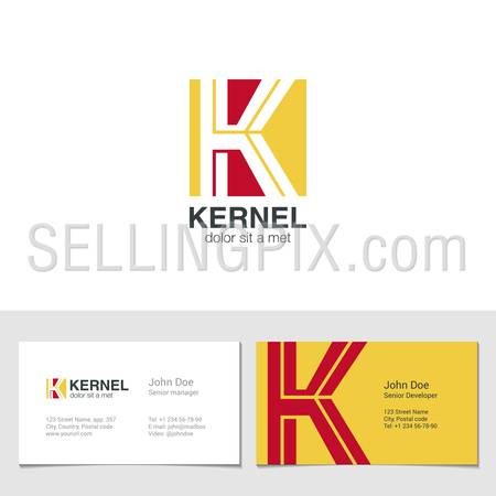 Corporate Logo K Letter company vector design template. Logotype with identity business visit card.