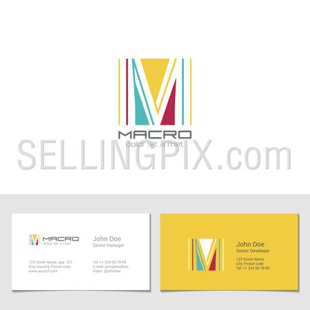 Corporate Logo M Letter company vector design template. Logotype with identity business visit card.