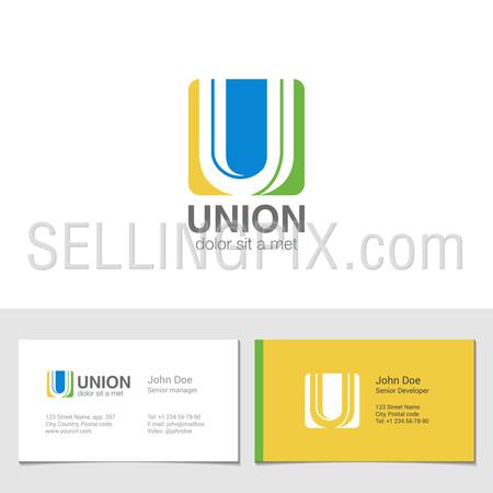 Corporate Logo U Letter company vector design template. Logotype with identity business visit card.