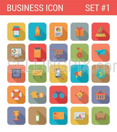 Flat style design long shadow business vector icon set. Online sale, shopping, report, gift, startup, computer, cart, gears, safe, presentation, money, card. Flat web and app icons collection.