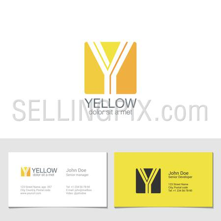 Corporate Logo Y Letter company vector design template. Logotype with identity business visit card.