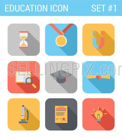 Flat style design long shadow education vector icon set. Hourglass, medal, magnet, book library search, cap, diploma, microscope, certificate, lamp idea. Flat web and app icons collection.