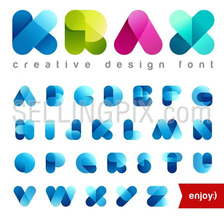 Rounded Transparent Font design vector editable. Friendly Alphabet