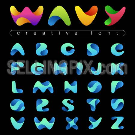 Rounded Wave Font design vector editable. Friendly wavy Alphabet