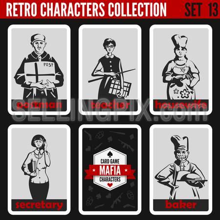 Vintage retro people collection. Mafia noir style. Postman, Teacher, Housewife, Secretary, Baker. Professions silhouettes.