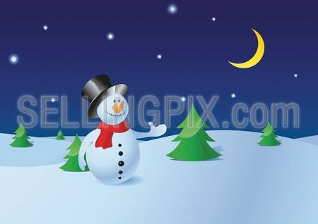 Snowman in the winter pine forest, night starry sky and new moon on background (to use as greeting card)  – Christmas collection