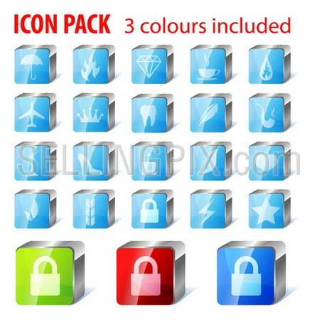 20 multi purpose icons collection: umbrella, fire, gem, coffee, airplane, crown, tooth, feather, pipe, chess, shoe, heart, cone, lock, lighting, star and few abstract