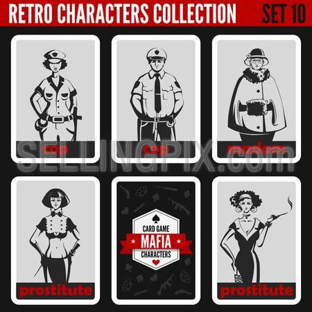 Vintage retro people collection. Mafia noir style. Madam, Prostitutes, Cops. Professions silhouettes.