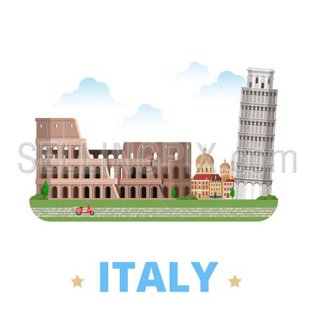 Italy country design template. Flat cartoon style historic sight showplace web vector illustration. World vacation travel Europe European collection. Leaning Tower of Pisa Venice Colosseum in Rome.