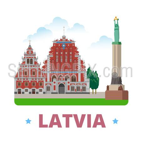 Latvia country magnet design template. Flat cartoon style historic sight showplace web vector illustration. World vacation travel Europe European collection. House of the Blackheads Freedom Monument.