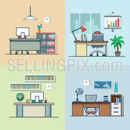 Teacher office student room workplace table chair interior indoor set. Linear multicolor stroke outline flat style vector icons. Color icon collection.