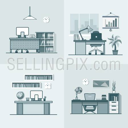 Teacher office student room workplace table chair interior indoor set. Linear mono color stroke outline flat style vector icons. Monochrome icon collection.