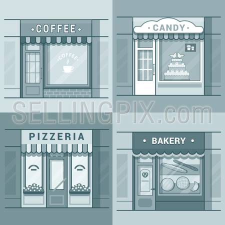 Small local business showcase storefront shop window cafe coffee bakery pizza pizzeria candy confectionery set. Linear stroke outline flat style vector icons. Monochrome icon collection.