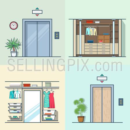 Wardrobe dressing room interior indoor elevator entrance door hall lift corridor set. Linear multicolor stroke outline flat style vector icons. Color icon collection.