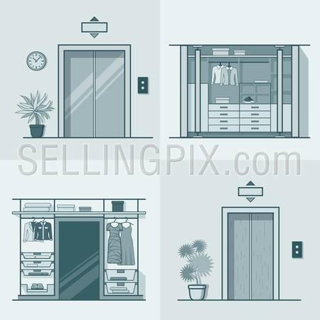 Wardrobe dressing room interior indoor elevator entrance door hall lift corridor set. Linear stroke outline flat style vector icons. Monochrome icon collection.