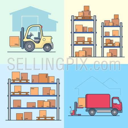Warehouse rack shelving loader box loading van set. Storage business concept. Linear multicolor stroke outline flat style vector icons. Color icon collection.