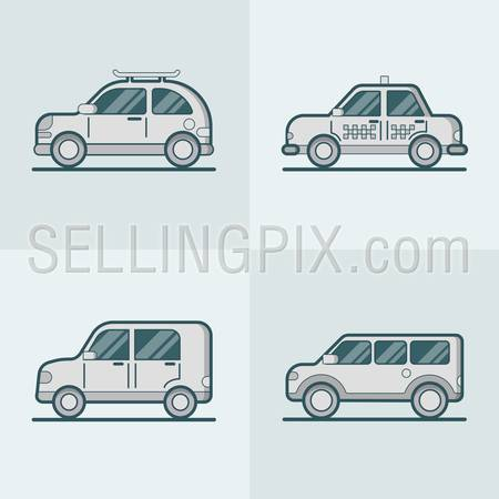 Passenger car van SUV taxi road lineart line art transport set. Linear multicolor stroke outline flat style vector icons. Monochrome color icon collection.