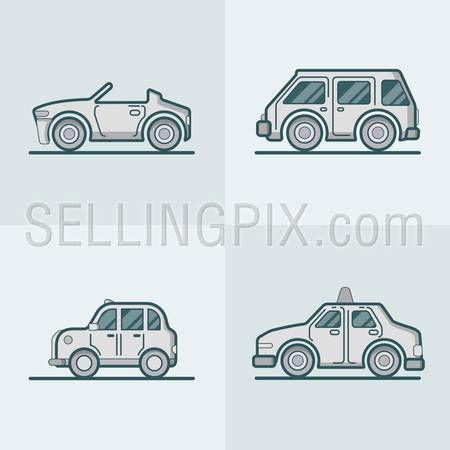 Convertible cabriolet cabrio sportscar van car taxi cab lineart line art road transport set. Linear multicolor stroke outline flat style vector icons. Monochrome color icon collection.